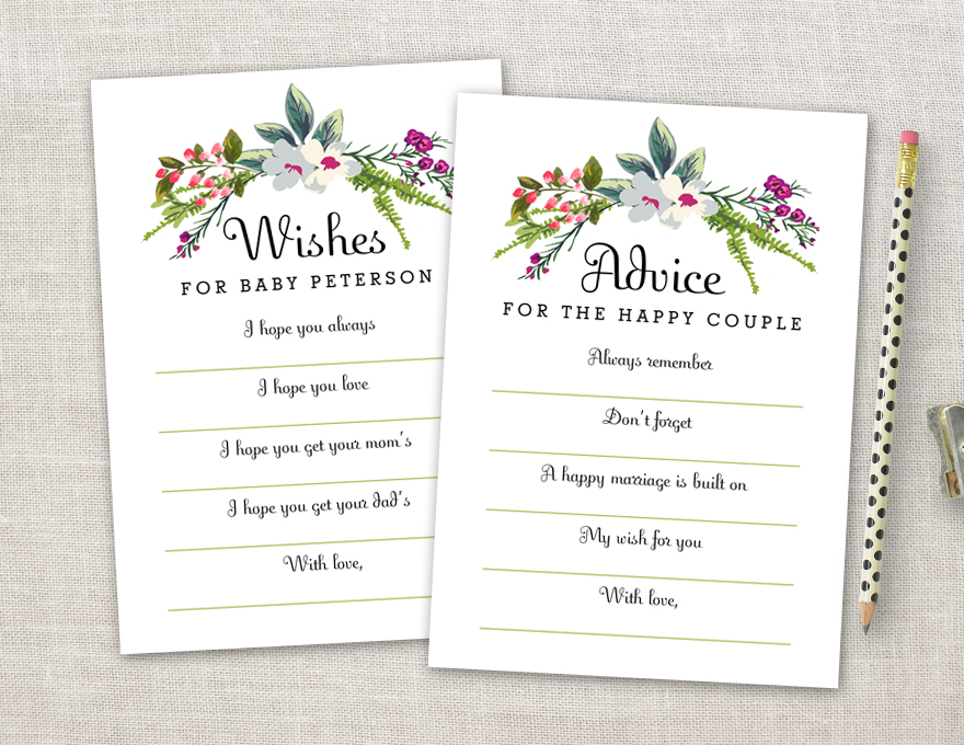Printable bridal shower advice cards or wishes cards for Bridal shower advice cards template