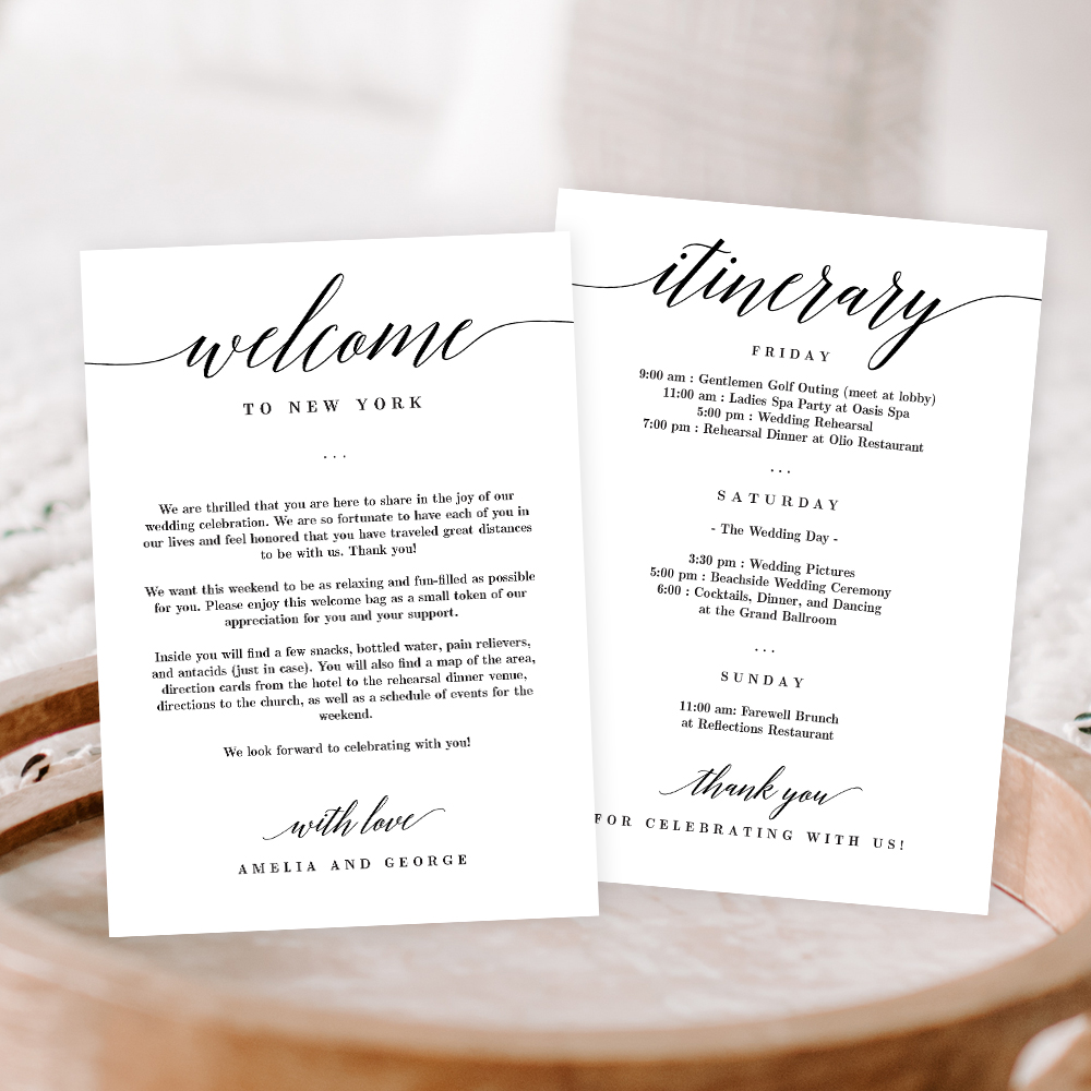 Wedding Welcome And Itinerary Card Msc