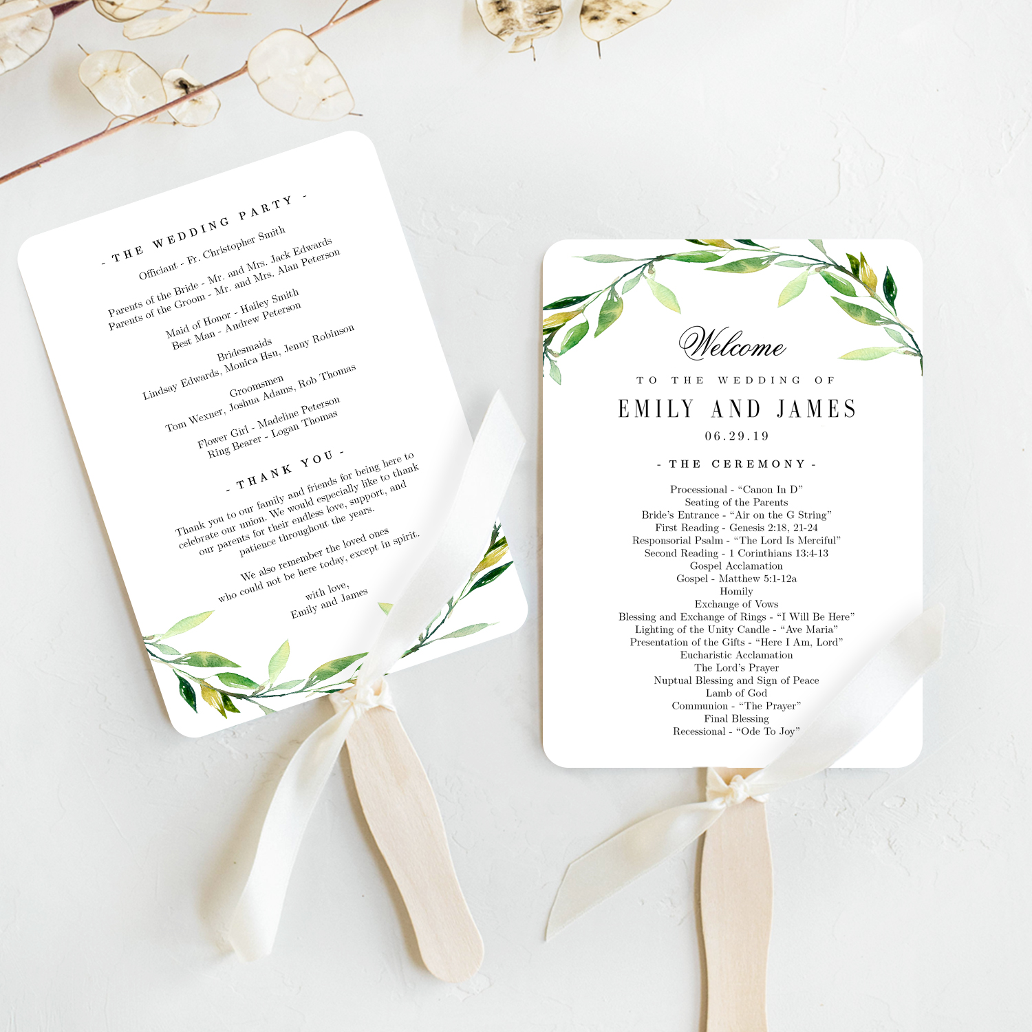Green Foliage Wedding Program Fan Template #GFC
